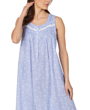 Eileen West Cotton Chambray Sleeveless Long Nightgown in Peri Blue Floral