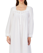 Eileen West Long Sleeve Cotton Lawn Night Gown in Sparkling White