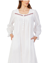 Eileen West Long Cotton Long Sleeve Nightgown in White Flair