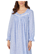 Eileen West Long Sleeve Cotton Chambray Long Nightgown in Peri Blue Floral