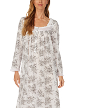 Eileen West Long Sleeve Ballet Nightgown - Cotton Lawn in Heather Grey Floral