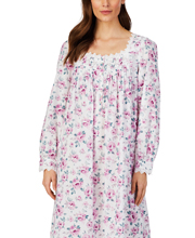 Eileen West Long Sleeve  Cotton Lawn Long Night Gown in Sparkling Watercolor