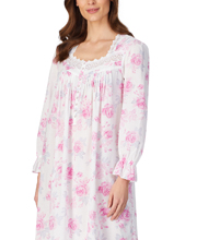 Eileen West Long Sleeve 100% Cotton Ballet Length Nightgown in Blooming Roses