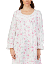 Eileen West Feather Flannel Cotton Rayon Nightgown in Pink Roses