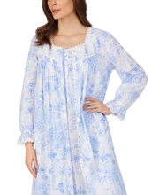 Eileen West Nightgown and Robe Set - 100% Cotton Ballet Length Peignoir in Blue Rose Floral