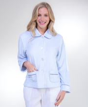 KayAnna Soft Velour Bed Jacket - Blue