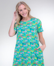 "La Cera ""Easy Fit"" Knit A-Line Dress - Turquoise"