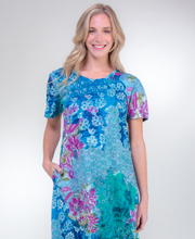 La Cera Dresses - Cotton Knit A-Line Blue Dress in Seaside Garden