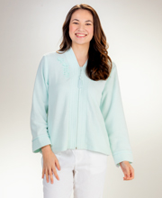 Miss Elaine Brushed Terry Zip Front Bed Jacket  - Aqua