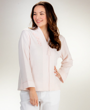 Miss Elaine Brushed Terry Zip Front Bed Jacket  - Peach