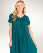 Long Miss Elaine Classics Flutter Sleeve Tricot Nightgown in Jade