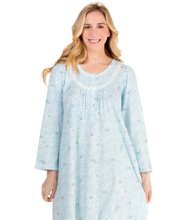 Round Neck Miss Elaine Pintucked Cuddleknit Long Gown in Blue Meadow