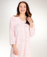 Miss Elaine Rounded Neckline Honeycomb Cuddleknit Long Gown in Pink Meadow