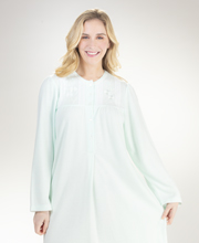 Round Neck Miss Elaine Pintucked Cuddleknit Long Gown in Mint Fancy