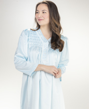 Miss Elaine Brushed Back Satin Smocked Long Nightgown in Blue Diamond