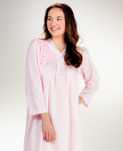 Miss Elaine Brushed Back Satin Long Nightgown in Pink Diamond