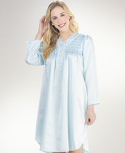 Miss Elaine Brushed Back Satin Smocked Short Nightgown in Blue Diamond
