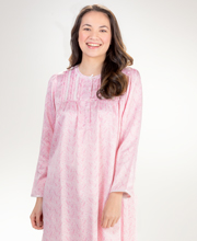 Miss Elaine Brushed Back Satin Pintucked Long Nightgown in Pink Paisley