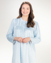 Miss Elaine Brushed Back Satin Pintucked Long Nightgown in Blue Paisley