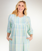 Miss Elaine Long Zip Front Seersucker Robe Turquoise Plaid