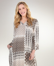 """N"" by Natori V-Neck  Long Caftan - Granada Dunes"