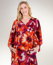 "Wishing Pond ""N"" by Natori V-Neck Satin Long Caftan - sunset blossoms"