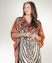 Sante Plus Satin Charmeuse Kaftan V-Neckline in Fireglow Safari