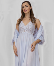 Shadowline Silhouette Long Nightgown/Robe Peignoir Set - Silver