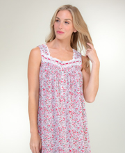 Eileen West Long Cotton Sleeveless Nightgown in Cheery Jubilee