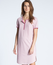 Calida 100% Cotton Knit Short Sleeve Button Tab Sleepshirt in Pink Daisy Deco