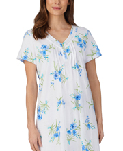 Carole Hochman Cotton Knit Short Sleeve White Cotton Nightgown with Aqua Floral