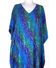 Long Caftan Rayon Dress by Eagle Ray Traders in Fireworks