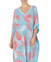 Ellen Tracy Long V-Neck Rayon Knit Caftan in Tropical Palms