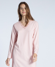 Calida Cosy Cotton Nights - Long Sleeve V-Neck Cotton Knit Nightgown in Rosy Pink