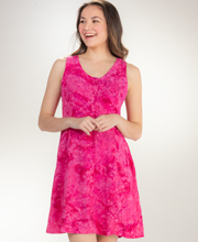 Batik Short Button-Front Sleeveless Dress by Eagle Ray - Peony Petals