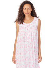 Eileen West Sleeveless Long Knit Modal Nightgown in Pink Roses