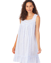 Eileen West Short Sleeveless Cotton Lawn Chemise in Cheering Peri or Sage