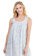 Eileen West Long Sleeveless Cotton Lawn Nightgown in Poetic Beauties