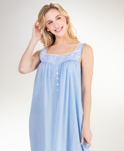 Eileen West Sleeveless Cotton Nightgown Embroidered in Blue Chambray