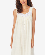 Eileen West Long Sleeveless 100% Cotton Nightgown - Swiss Dot in Soft Yellow