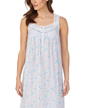 Eileen West Long Cotton Sleeveless Nightgown in Whimsy Floral Print