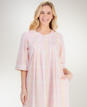 Miss Elaine Long Zip Front Seersucker Robe in Pink Peach Plaid