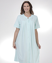 Short Miss Elaine Robes - Cozy-Soft Terry Snap Robe in Aqua Diamonds