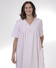 Miss Elaine Robe - Cozy-Soft Stretch Terry Zip-Front in Pink Diamonds