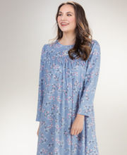 Calida Long Sleeve Cotton Knit Nightgown in Forever Blue