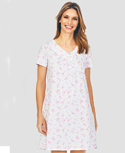 Carole Hochman Sleep Shirt - Short Sleeve Cotton Knit in Bonny Floral