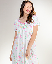 Carole Hochman Nightgown - 100% Cotton Knit Short Sleeve in Wild Roses
