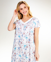 Carole Hochman Cotton Knit Flutter Sleeve Nightgown in Aviary Garden