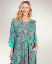 Ellen Tracy Loungers - Elbow Sleeve Polyester V-Neck Caftan in Fancy Teal