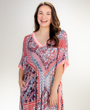 Ellen Tracy Long V-Neck Rayon Knit Caftan in Sunrise Paisley